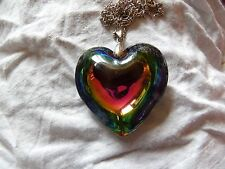 STUNNING WHITE GOLD PLATED HUGE PUFFY MURANO GLASS HEART ON STERLING  CHAIN BXD
