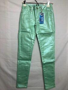 Justice Super Skinny Jeans Unique Mint color Shimmer Premium Simply Low