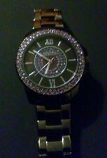 Womens Express Watch Stainless Steel Charcoal & Purple Jeweled Wrist Watch.