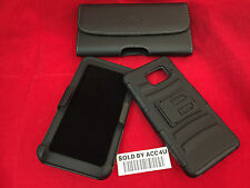 LEATHER BELT CLIP POUCH & HYBRID ARMOR HOLSTER CASE FOR SAMSUNG GALAXY NOTE 5