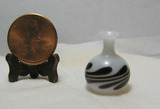 Miniature Dollhouse Glass Vase White w/ Black Swirls