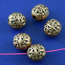 20pcs copper-tone round spacer beads h2172