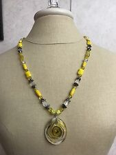 Necklace Pendant Yellow Glass Oval Crackle Jewelry Silver Plated Nylon Coated