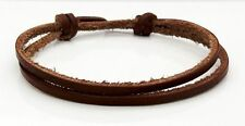 Brown Flat Leather Cord Bracelet Adjustable Sliding Knot Wristband By TaKuKai