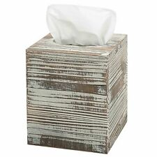 MyGift Rustic Torched Barnwood Brown Square Tissue Box Cover with Slide-Out