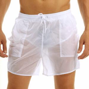 Mens See Through Swim Shorts Drawstring Quick Dry Trunks Underwear Boxer Briefs