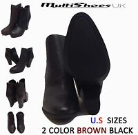 Ladies Womens Ankle High Wooden Heel Leather Look Zip Up Black Boots Size