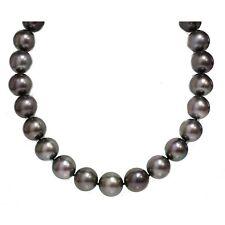 Tahitian Pearl Necklace 17 - 16 mm Aubergine 14k Ball Diamond Clasp