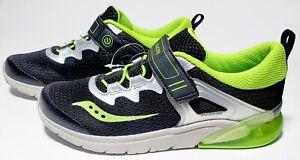 Saucony Kid's Flash Glow A/C, Light Up Sneaker Shoes Black / Grey
