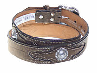 Nocona Western Leather Belt 1-1/2 inch Tooled Alligator Design Star Concho
