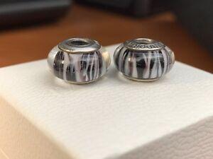 Authentic Pandora Murano Glass Zebra Charms 925 ALE Set Of 2-  790938