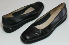 Ferragamo 7 B Black Leather Gancini Logo Flat Mini Wedge Pumps Rubber Outsoles