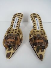 MANOLO BLAHNIK Tan Animal Fabric Buckle Pointy Toe Heel Slide Mule Size 4.5 34.5