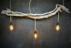 Driftwood Branch Kitchen Island over Table Lighting, Dimmable vintage Filament