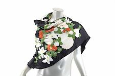"""CHANEL Authentic 100% Silk Floral Scarf  39"""" Square Black White Green Red"""