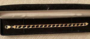 Ladies Heavy 18.2 gms 9ct Gold & Diamond Bracelet Length 8 1/2 INS
