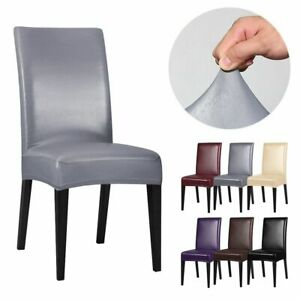 Waterproof PU Leather Stretch Slipcover Protector Dining Chair Seat Cover Decor