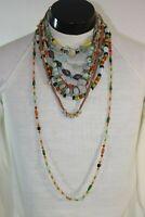 Necklace Lot Real Vintage Boho Coral Gem Stone Glass Estate Find