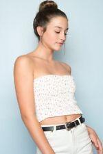 Brandy Melville white/red floral ruffle smocked cleo tube top NWT XS/S