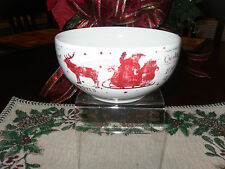 "222 FIFTH ""SANTA COMPANY"" SET OF 4 SOUP CEREAL BOWLS REINDEERS NORTH POLE SLEIGH"