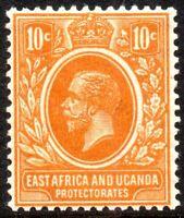 1921 East Africa & Uganda Protectorate Sg 47a 10c orange Mounted Mint
