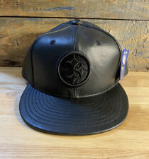 Vintage Pittsburgh Steelers All black Leather Reebok Hat Blacked out RARE NWT