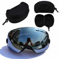 Black Frame Snowboard Snowmobile Ski Goggles Anti-Fog UV Lens & EVA Protect Case