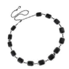 Mesdames strass noir Cube ventre taille corps chaîne maigre bijoux