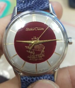 VERY NICE VINTAGE SEIKO CROWN WITH  FLAGSHIP DIAL HAND WINDING MENS JAPAN WATCH