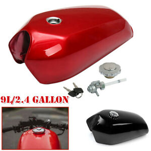 9L /2.4 Gallon Universal Motorcycle Cafe Racer Fuel Gas Tank & Cap Switch Steel