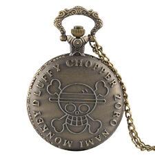 Skull Engraving Quartz Pocket Watch Gift New Bronze Popular Anime One Piece Evil