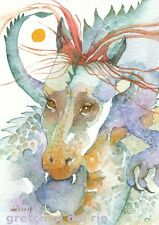 "ACEO Giclee PRINT watercolor 2.5"" x 3.5""  'HOSHI' dragon mystic spirit"