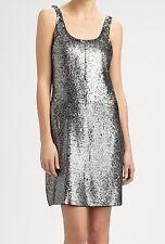 Nwt $550 Rebecca Taylor Sequin Tank Club Dress Top Tunic ~Antique Silver *0