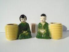 Vintage Ceramic Planters Young Asian Man & Woman in Green Kimonos Rare Set