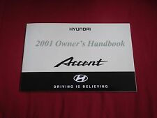 2001 HYUNDAI ACCENT HANDBOOK OWNERS MANUAL SUPPLEMENT BOOKLET