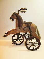 "Antique Miniature Hand Carved Wooden Horse Tricycle 15 1/2"" Long"