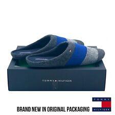 Tommy Hilfiger Devon Striped Slipper Fleece Blue/Grey upper 60% wool UK 12-13