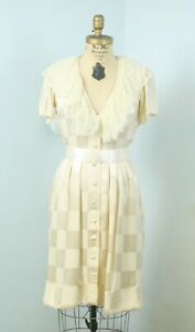 Vintage 80s 100% Silk Victorian Andre Laug Ivory Lace Short Sleeve Dress  S/M