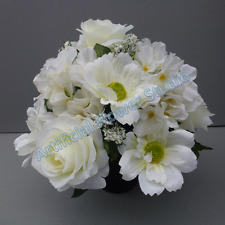 Silk Flower Arrangement Ivory With Scabiosa In Pot For Grave/Memorial Vase-15