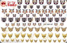 87 Sugar Skull Cats Nail Art Stickers Decals Tattoo, Dia de los Muertos SSC01-87