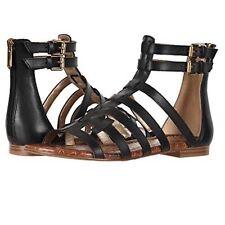 Sam Edelman Berke Gladiator Sandal Back Zip Side Buckle Size 9 Black Gold