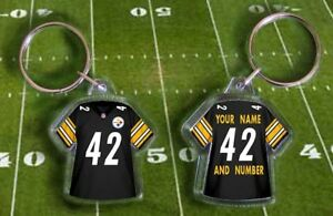 PITTSBURGH STEELERS shirt jersey KEYRING, Fully personalised name & number NFL
