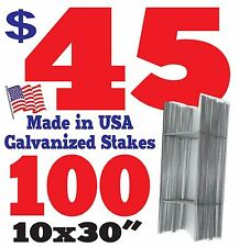 "100 <H> Wire Stakes 30"" for Yard Signs, Political, Fair, Garage Sale 9 Gauge"