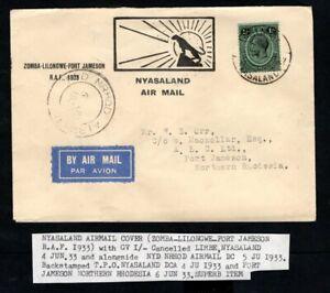 Nyasaland - 1933 Airmail Cover RAF Flight Zomba to Fort Jameson