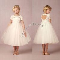 Lace Princess Bridesmaid Skirt Flower Girls Kids Wedding Formal Party Tutu Dress