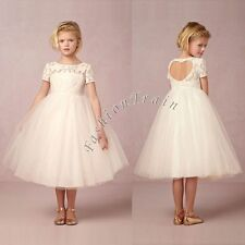 Vintage Girls Kids White Flower Princess Formal Party Wedding Bridesmaid Dresses