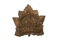 Original WW2 Royal Canadian Army Broken Hat Badge Missing Its Pin Maple Leaf  K1