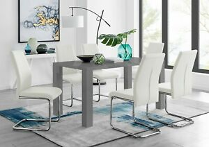 PIVERO Grey High Gloss Dining Table Set & 6 Faux Leather Dining Chairs Seater