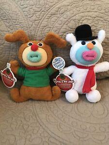 2 NWT Mattel SING-A-MA-JIGS Christmas/Holiday Snowman & Reindeer•2011