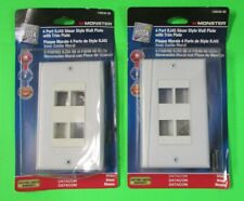 Lot of 2 Monster 4 Port Rj45 Decor Style Wall Plate w/Trim Plate White #140540